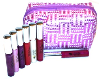 6 Assorted Colours Natural Long Lasting Lip gloss with Makeup Purse (Simply-OGE)