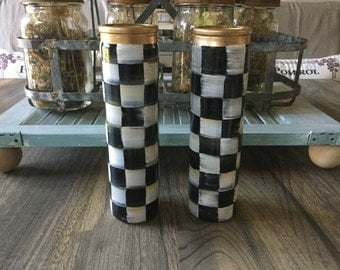 Elegant check collection unscented glass piller candle.