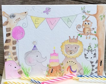Safari/Zoo First Birthday card; Customized Banner card; New baby/Adoption/Baby shower card. Watercolor. Nursery Art. Jungle.  Personalized