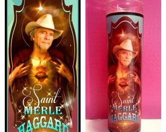 Merle Haggard prayer candle