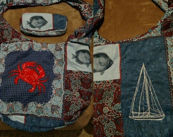 The red crab hobo bag, crossbody bag, gifts for her, Christmas gifts, back to school, birthday gifts, beach bag, overnight bag ocean theme