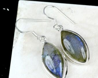 Labradorite Earring, Labradorite Gemstone, Dangle Earring, 925 Sterling Silver, Women Silver Earring, Gemstone Earring, 925 Silver Earring,