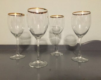 Four Large Wine Glasses with Gold Rim