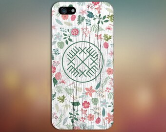 Geometric Tribal Spring Flowers x White Wood Phone Case for iPhone 6 6 Plus iPhone 7  Samsung Galaxy s8 edge s6 and Note  S8 Plus Phone Case
