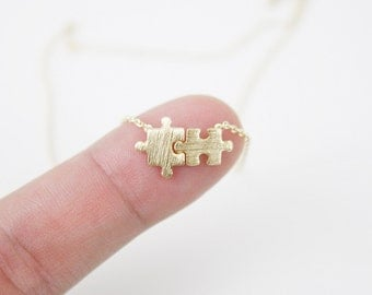 Gold puzzle necklace Puzzle Charm Necklace Dainty and Simple Necklace Birthday Gift