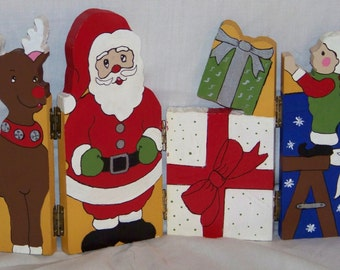 Folding painted Wooden Christmas decoration