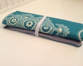 NEW* - DPN knitting ( double pointed needle) holder, teal wallpaper print