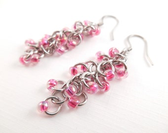 Pink Beaded Earrings - Pink Beaded Shaggy Loops Stainless Steel Chain Maille Dangle Earrings