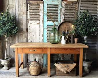 Beautiful vintage French dining table with pine door top
