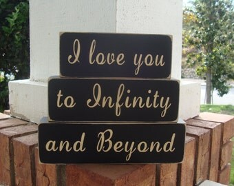 I Love You to Infinity and Beyond Wood Block Set, wood stackers, nursery decoration, childrens bedroom