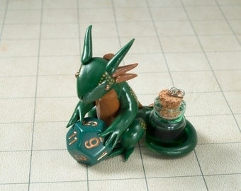 Green Mana Potion Dragon Dice Holder, Polymer Clay Dragon Figure