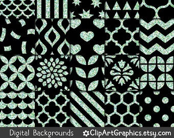 Black and Mint Glitter Digital Paper