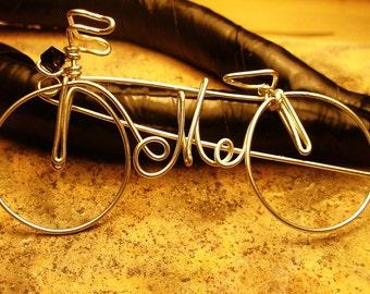 SPILLA BICICLETTA c/Iniziale Spilla Bici Artigianale Gioie Argento,Spilla Personalizzata Spilla c/Iniziale Iniziale sulla Bici Lovely Brooch