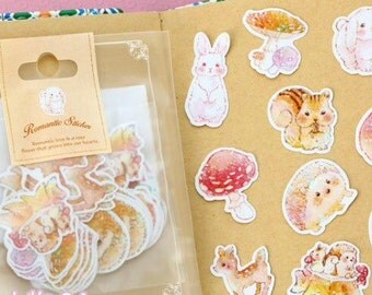 70 Cute Pastel Woodland Animals Stickers 10 Designs Frost Watercolour Effect Kamio Japan