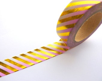 Gold Stripes on Pink Ombre Foil Washi Tape 15mm x 10m
