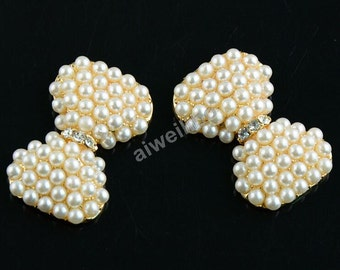 10 pcs Bow Pearl Buttons,Rhinestone Flatback,Flower Center,Diy Supplies