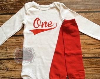 Baby Onesie One Onesie 1st Birthday Onesie Outfit Baseball Onesie Red Leg Warmers