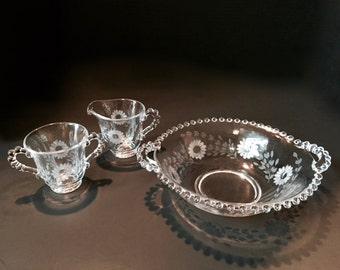 Imperial Glass Co...Floral Etched Candlewick Set
