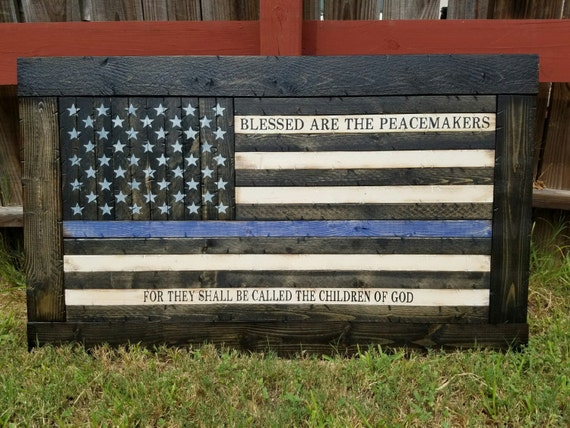 Framed Thin Blue/Red Line American Flag with Blessed Are The Peacemakers verse