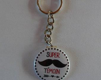 Badge Porte clés Super Témoin Cadeau Témoin Mariage Moustache.