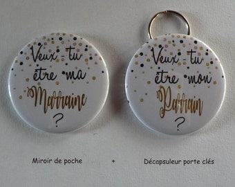 Duo Cadeau Parrain Marraine Veux-tu être mon parrain/ ma Marraine Décapsuleur Porte Clés Confettis.