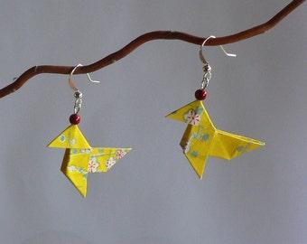 Boucles d'oreilles Origami Cocottes Papier Japonais Jaune.