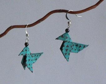 Boucles d'oreilles Origami Cocottes Style Ethnique.