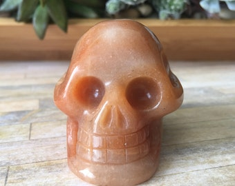 Red Aventurine Skull- Aventurine Gemstone Skull-Hand Carved Skull-Crystal Skull-Skull-Metaphysical