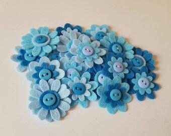 18 Felt Flower Embellishments.Felt Die cuts.Felt flower appliques .felt craft flowers.Card making, scrapbooking embellishments.free p&p