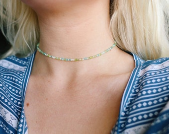 Spring Greens Mixed Glass Beaded Choker Necklace
