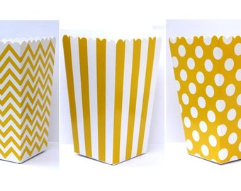 "SALE, 12 Yellow Popcorn Boxes- Treat Boxes - Party, Birthday and more ""Same Day Shipping"""