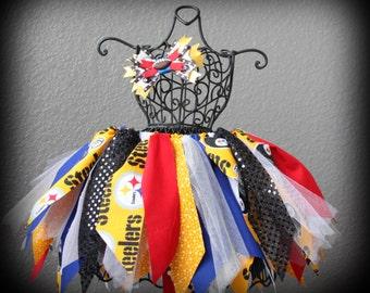 Girls Cheerleader Scrap Fabric Tutu / Steelers Tutu /  Pittsburgh Tutu / Football Tutu /  NFL Tutu / Pittsburgh Steelers