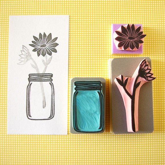Flower rubber stamp with mason jar vase hand carved