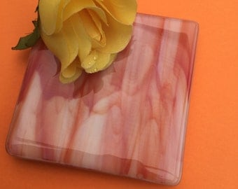 Gorgeous peachy toned set of two fused glass coasters.
