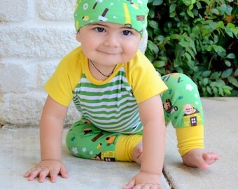 Baby Boy Clothes - Boy Outfit - 2 piece set - Big Butt Harem Pants and Raglan Tee, THREE LITTLE PIGS Organic baby boy outfit