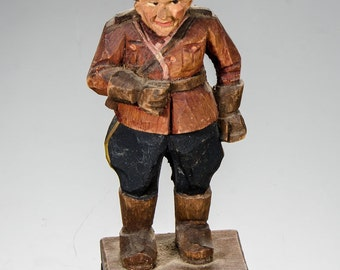 Folk Art carved wood Canadian Mountie 4""