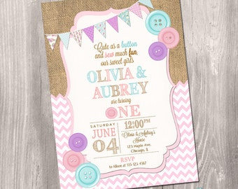 Twins birthday invitation, Cute as a button invitation, 1st birthday invitation, first birthday invitation, digital, Printable Invitation