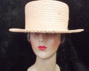 Vintage Lock & Co Straw Boater Hat. Vintage Straw Boater.Lock and Co London Straw Boater.Vintage Straw Hat 1980s