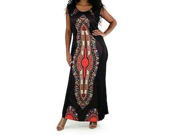 Cultural Print  Dress Black