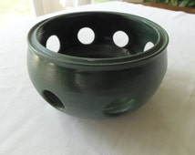 Forest Green Pottery Yarn Bowl, Candle Holder or Potpourri Dish- New, signed and dated