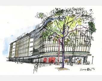 Peter Jones, Sloane Square - A2 signed giclée print by James Oses