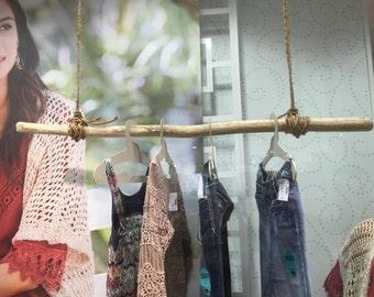 "Single  Driftwood Curtain Rod - 1 Straightish Driftwood Branch 35-66""- 1-1.5"" Diameter -Long Driftwood-Driftwood Clothes Hanger- Curtain Rod"
