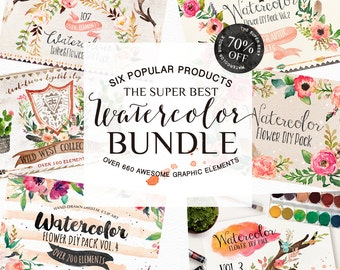 50% Off • Watercolor Bundle/Wedding/Clip art collection/15 Pre-designed logos/Seamless pattern/Individual PNG files/Hand Painted