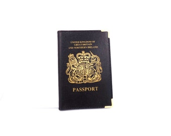 UK Leather Passport Cover/Wallet/Holder in Black