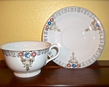 Vintage Teacup and Saucer Set~Nasco Teacup & Saucer~Occupied Japan~Art Nouveau Teacup and Saucer