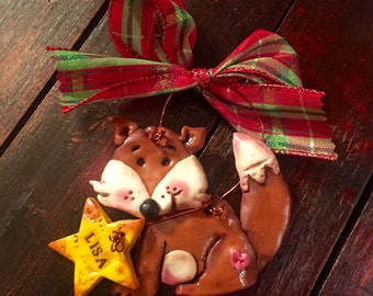 Custom Personalized Woodland Fox Keepsake Polymer Clay Ornament