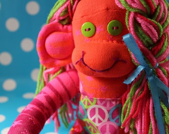 Sock Monkey / Peace Sign / Pink Orange Green Blue / Pigtails / Star / Striped / Nursery Decor / Gifts for Her / Gifts for Girlfriend