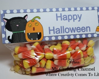 Black Cat with Pumpkin Treat Bag Toppers-Bag Topper-Halloween Bag Topper-Halloween-Topper-Boo-Boo Topper-Ghost Topper-Halloween Topper
