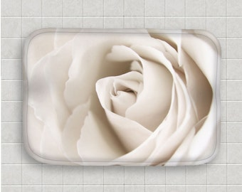 Floral Bath Mat-Rose Floor Mat-Ivory Floor Mat-Microfiber Floor Mat-Memory Foam-Flower Bath Decor-Kitchen Floor Mat-Nature-NonSkid Floor Mat