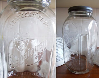 Superb vintage glass SANATOGEN jar~Wonderful raised graphics~Perfect vintage storage! A fun and unusual old apothecary piece